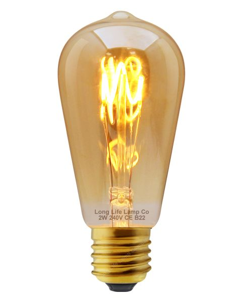 Edison Classics 2w Vintage LED Filament Bulb Teardrop Spiral ST58 Smoke Gold Glass E27 Edison Screw