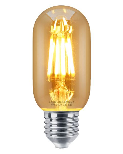 Retro Vintage LED 4W Edison Style Filament Tube Bulb Smoked Gold Glass T45 E27