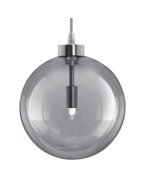 Modern Vintage Ceiling Smoked Grey Globe Pendant Light M0211