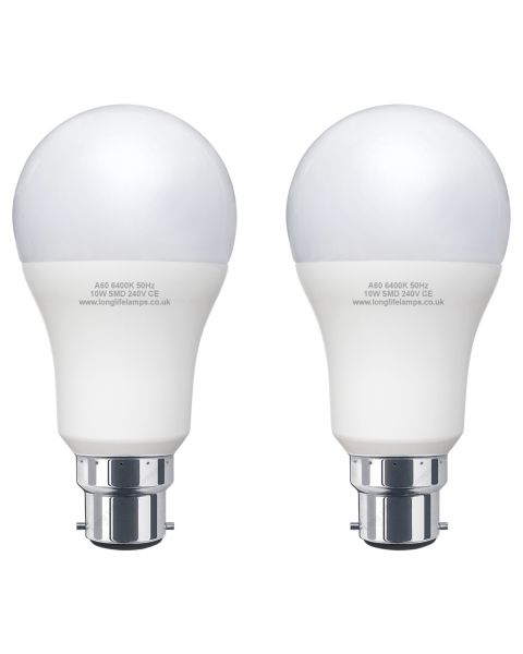 2 Pack 10w = 100w GLS LED Light Bulb B22 Cool White A60