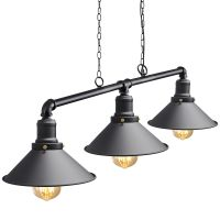 Industrial Suspended Ceiling Pendant 3 Lamp Black Metal Vintage Light Fitting M0053
