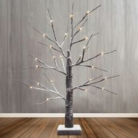 LED Indoor Christmas Brown Tree Snow Effect Miniature 60cm Mains and Battery Operated