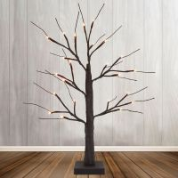 LED Indoor Christmas Brown Tree Miniature 60cm Mains And Battery Operated