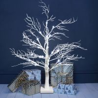 LED Indoor Christmas Tree White 75cm Foldable Mains and Battery Operated