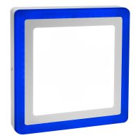 18w Square LED Ceiling Light Cool White with Blue Ambient Ring Surface Mount