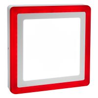 18w Square LED Ceiling Light Cool White with Red Ambient Ring Surface Mount