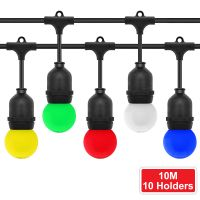 10 Bulb 10M Outdoor LED Festoon String Lights Coloured Bulbs IP64 240v Heavy Duty Highest Quality