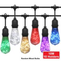 10 Bulb 10M Outdoor LED Festoon String Lights Fairy Coloured Vintage Bulbs
