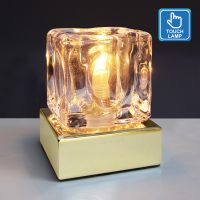 Ambient Glass Ice Cube Touch Dimmable Table Lamp Gold Base with G9 Bulb M0110