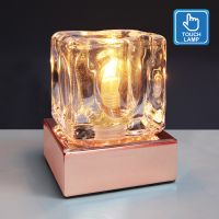 Ambient Glass Ice Cube Touch Dimmable Table Lamp Copper Base with G9 Bulb M0111