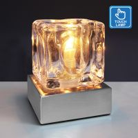 Ambient Glass Ice Cube Touch Dimmable Table Lamp Chrome Brush Satin Base with G9 Bulb M0112