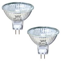 2 x MR16 20w Halogen Bulbs GU5.3 Lamp 12v Halogen with Aluminium Reflector