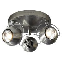 Brushed Chrome 3 Way Adjustable Eyeball Ceiling Spotlight GU10