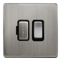 Metal Gloss Brushed Chrome 13A Switched Fused Spur Connection Unit Screwless Plate Finish N422DME