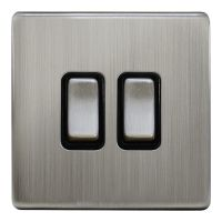 Double Light Switch 2 Gang 2 Way Gloss Brushed Chrome Wall Switch N304DME