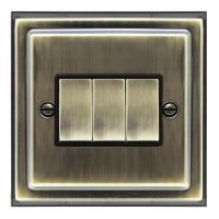Brush Antique Brass Light Switch 3 Gang 10amp 2 Way BE306 KME