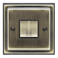 Brush Antique Brass Double Light Switch 2 gang 2 way 10amp BE304 KME