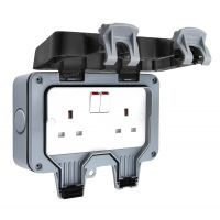 13A 2-Gang Weatherproof Outdoor Switched Socket IP66 Rated