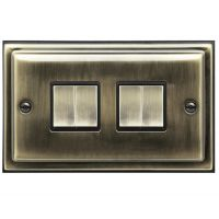 Brush Antique Brass Light Switch 4 Gang 10amp 2 Way BE307 KME