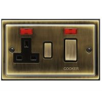 Brush Antique Brass 45A Cooker Control Switch Unit with 13amp Socket Neon Indicators BE331KME