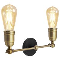 Modern Vintage Industrial Antique Brass Adjustable Double Arm Wall Light Lamp WD028-2 M0037