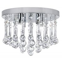 Chandelier Ceiling Light Round Modern Flush Mount Crystal Droplets Chrome Base M0114 with 4 LED Bulbs