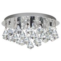 Modern Round Chandelier Ceiling Light Crystal Rain Droplet Reflective Silver Base M0014S