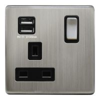 1 Gang USB Switch Socket 13A Twin Port Brushed Chrome Single Plug Wall Outlet N501DME
