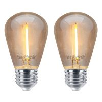 Pack of 2 LED Filament Light Bulb 1w E27 Edison Screw Warm White Decorative Festoon Lamp