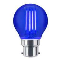 Ambient Fireglow 4w LED Golf Ball Blue Light Bulb B22 Bayonet Clear Glass