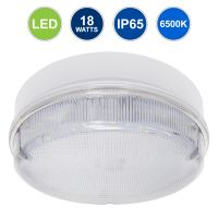 18w Round LED Flush Mount Light IP65 6500k Bright Daylight 0832F
