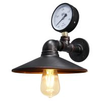 Industrial Water Pipe Wall Light with Pressure Gauge M0164