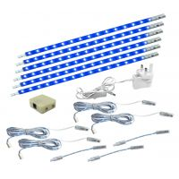 6 x 30cm Plug In LED Blue Under Kitchen Cupboard Cabinet Strip Lights