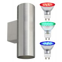 Coloured LED GU10 Up Down Double Wall Light IP20 Heavy Stainless Steel ZLC034