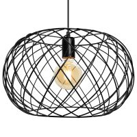 Black Metal Industrial Ceiling Wire Cage Globe Pendant Light M0183 with 4W G95 LED