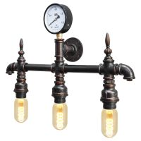 Vintage Rustic Industrial Water Pipe Wall Light with Gauge M0192P