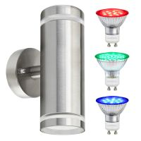 6w Red,Green, Blue Coloured LED Wall Light Stainless Steel ZLC308