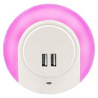 1w Pink LED Night Light 2 USB Ports Automatic Sensor Dusk To Dawn A78B