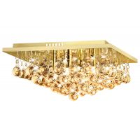 Modern Square Chandelier Crystal Droplets Gold Effect Base M0142 with 4 x 3w G9 WW