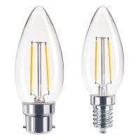 2w COG LED Candle Light Bulb Warm White Ideal for Chandeliers and Wall Lights