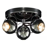 Gloss Black Chrome 3 Way Adjustable Eyeball Ceiling Spotlight GU10